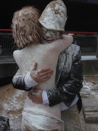 Congratulatory hug