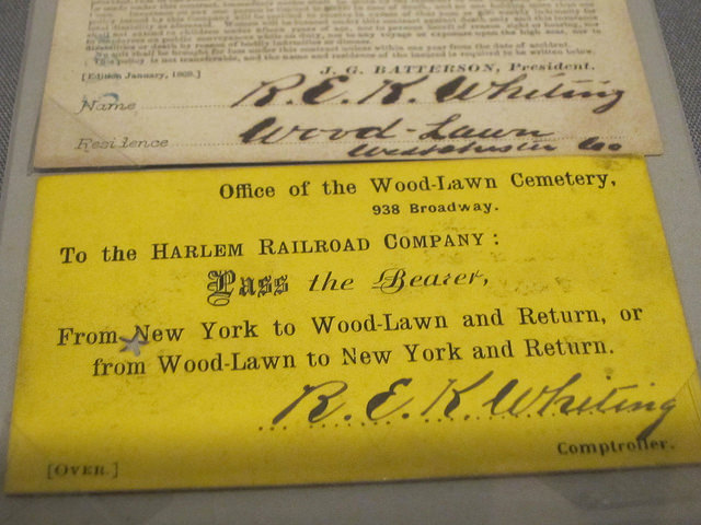 Harlem Railroad Company ticket to Woodlawn (1870s)