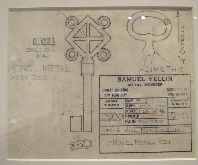 Mausoleum key design from Samuel Yellin