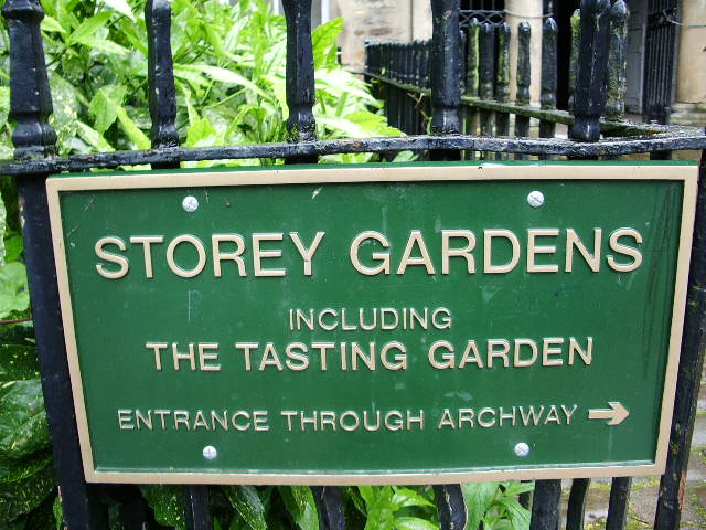 """Sign for Storey Gardens, including """"The Tasting Garden"""" by Mark Dion (photograph by Alexander P Kapp, via Wikimedia)"""