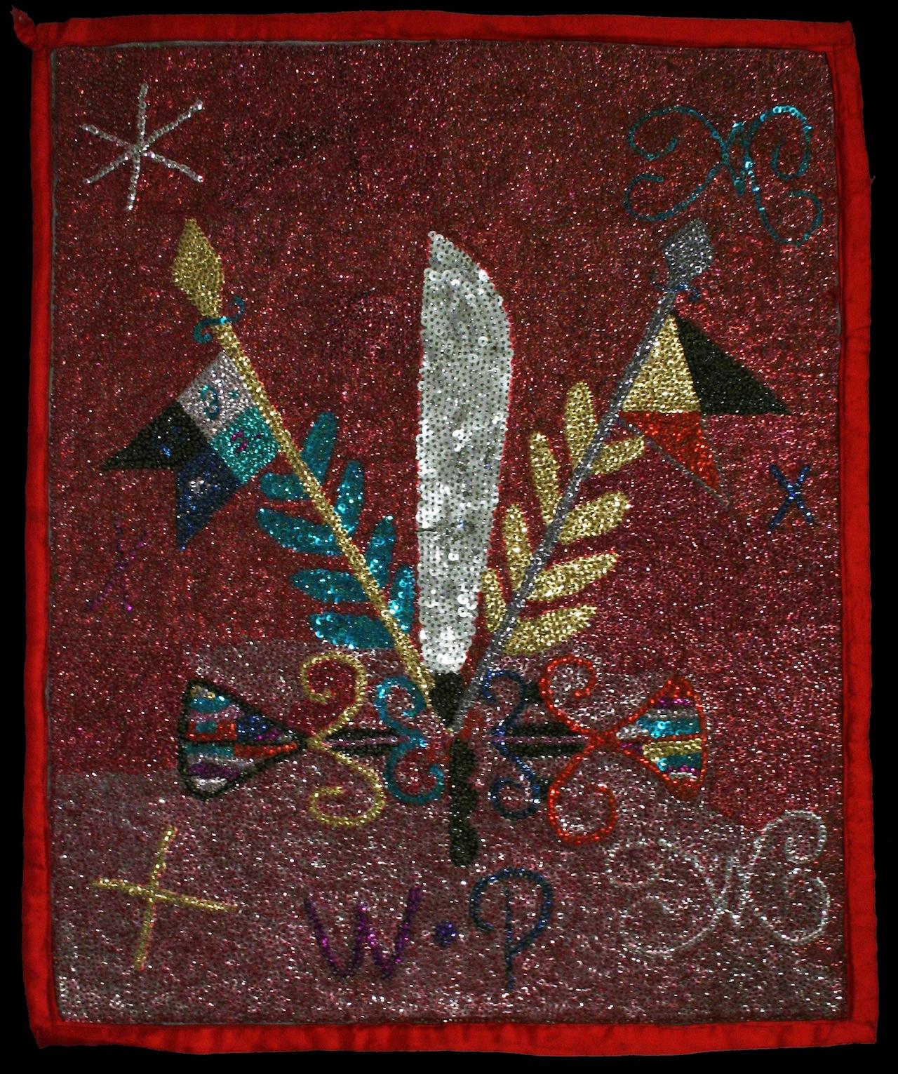 Ogoun (Rada) b Mid 20th century Satin, beads, sequins, polyester raffia, and thread 33 x 26 1/2 x 1/8 Courtesy Thomas Schultz Collection