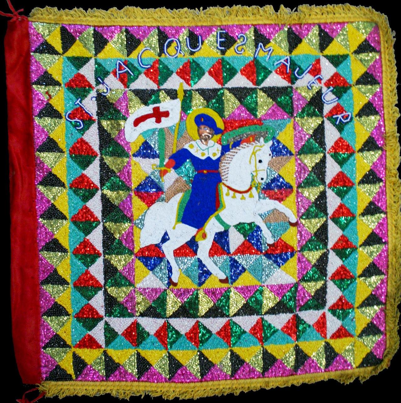 Ogoun (Rada) d Mid 20th century Plastic, satin, sequins, beads, burlap, thread, cotton, and fringe 34 x 33 1/2 x 1/2 Courtesy Thomas Schultz Collection
