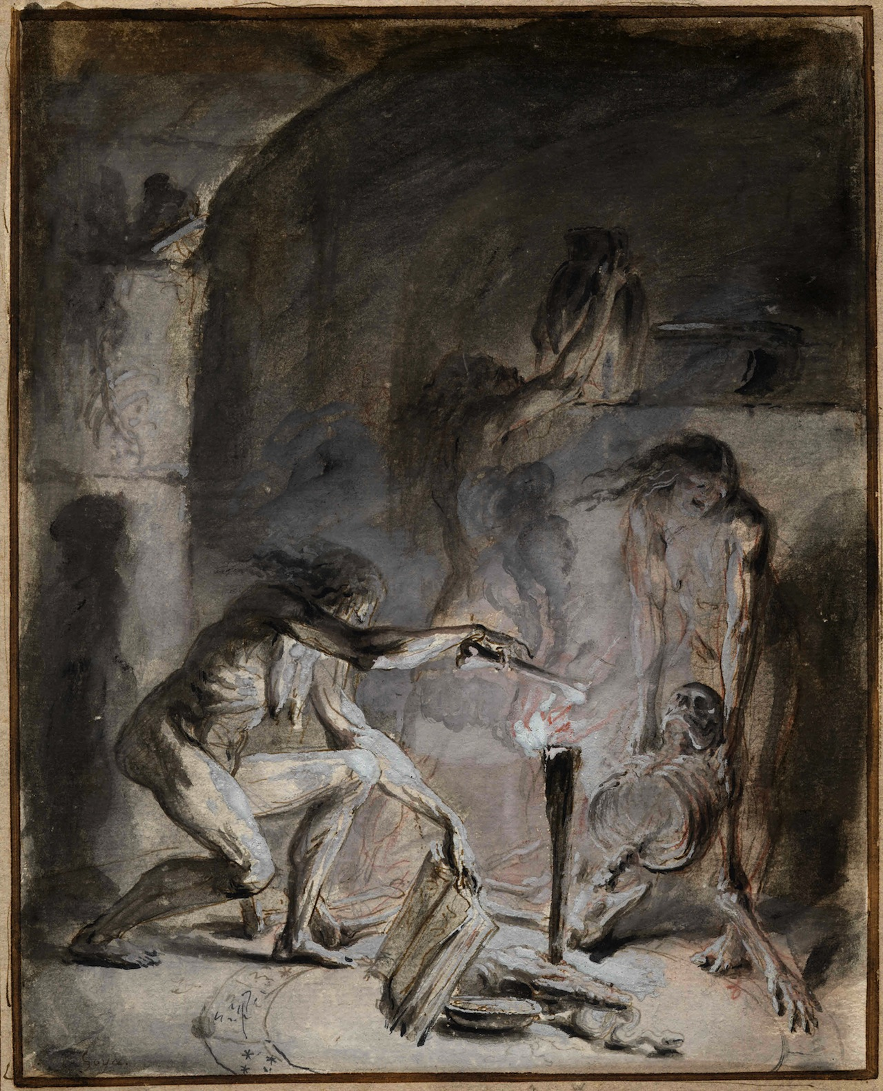 nude witches ... Witchcraft scene, three nude figures in a darkened interior, including  figure at right holding
