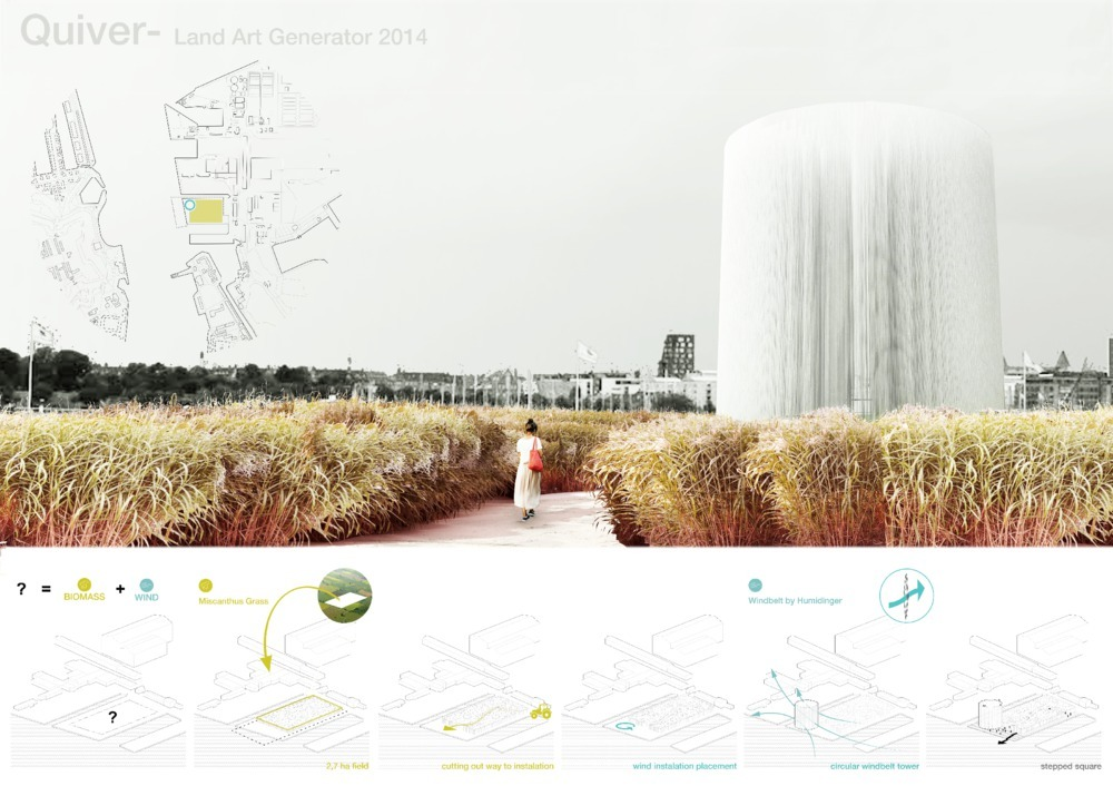 """""""Quiver"""" won second prize. It was developed by Mateusz Góra and Agata Gryszkiewicz of Warsaw, Poland. The creators write that their design shows the """"symbolic relations between nature and technology."""" On the one hand, the garden's Miscanthus grass, which can grow in soils of even the poorest quality, represents low-tech solutions, while the Windbelts on the towers pulling energy from the wind represent high-tech ones. (Image courtesy of LAGI)"""