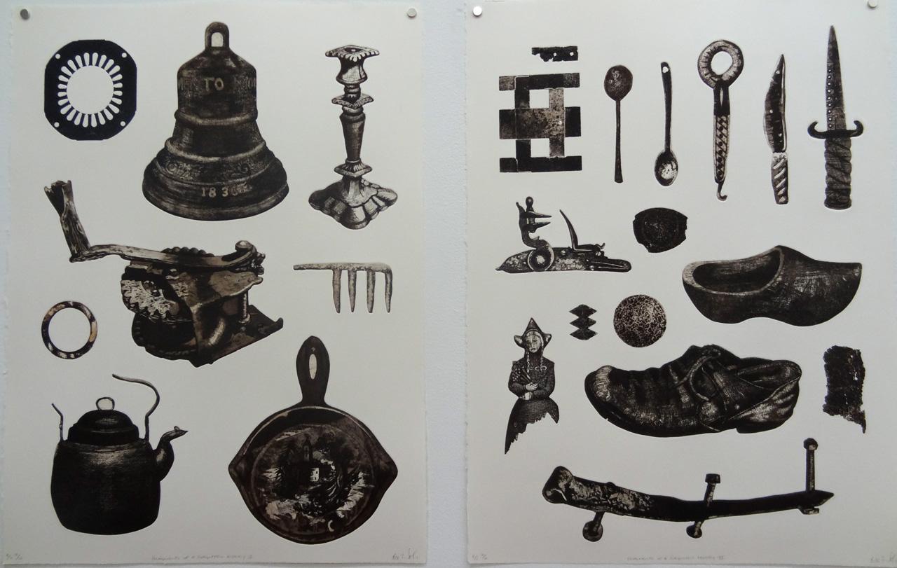 """Bevan De West, """"Fragments of a Forgotten History  II and III"""" (2008–11), etching"""