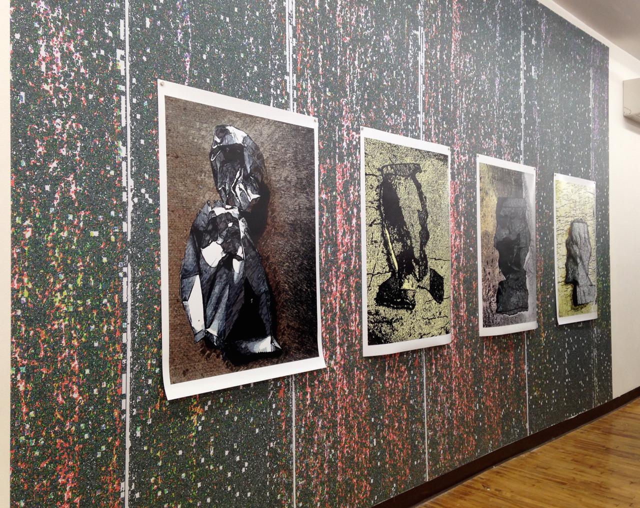 "Bai Ye, ""Infinitely Close"" (2014), 3 digital prints on digital wallpaper, 10' x 16'"