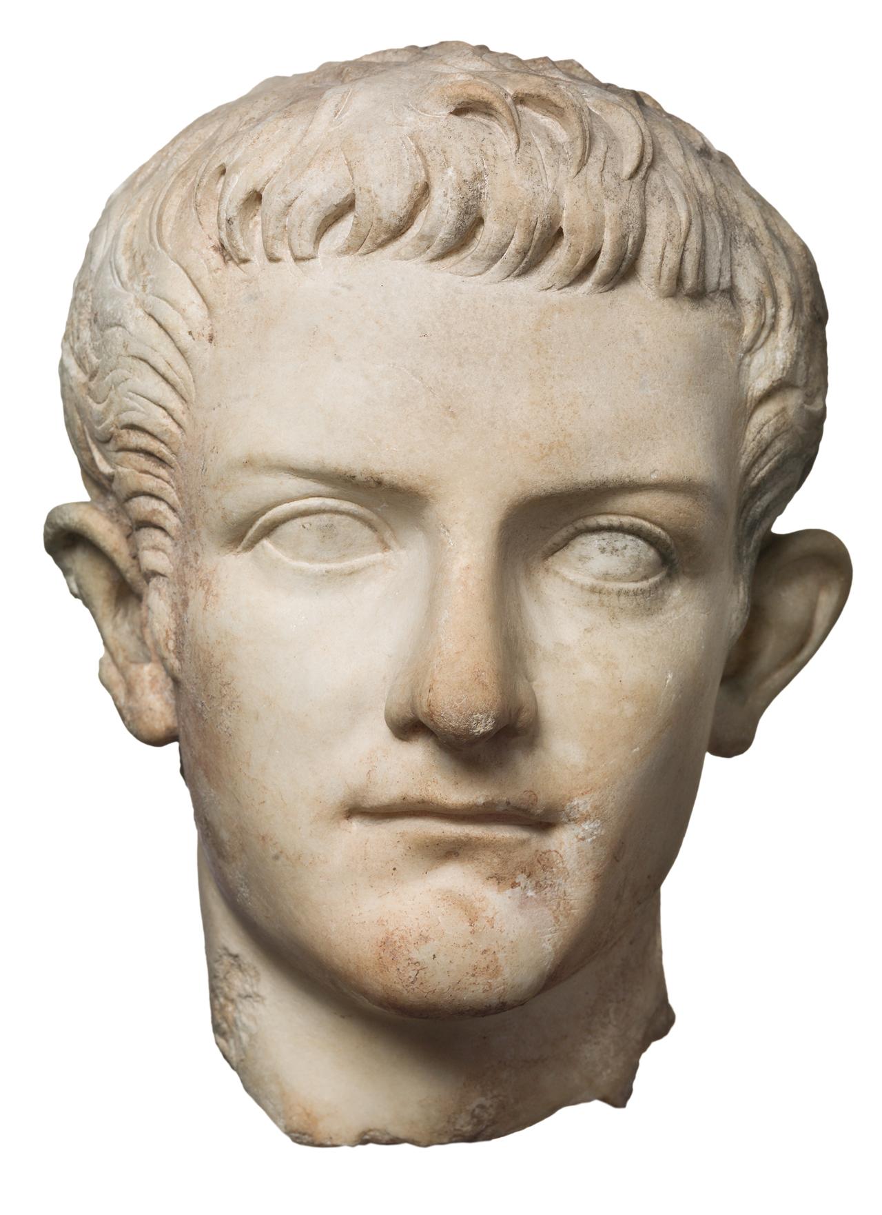Caligula, (37-41 CE),, marble, h: 28 cm, Ny Carlsberg Glyptotek