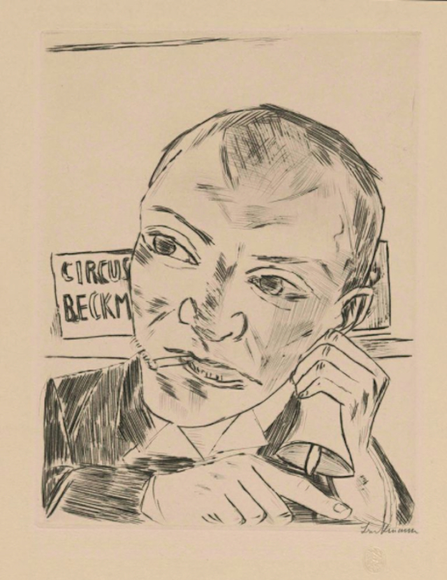 """Max Beckmann, """"The Barker,"""" 1922. Museum Works of Art Fund. © Max Beckmann. (Courtesy of the RISD Museum, Providence, RI)"""
