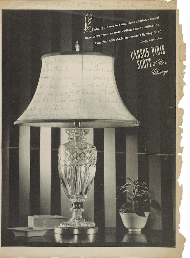 """ Cornell records impressions of his dreams from the night of May 17, 1946, written in pencil on a page torn from a magazine. The page features an advertisement for a lamp collection sold by Carson Pirie Scott & Co.  On verso is another ad, for Kellogg stationery."" (Image courtesy of the Archives of American Art, Smithsonian Institution)"