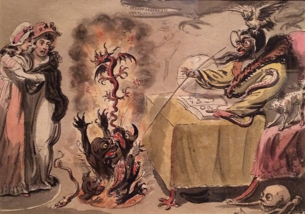 """Isaac Cruikshank, """"Raising Evil Spirits"""" (1795), pen and watercolor over pencil, 6 5/8 × 9 1/8 in, The Huntington Library, Art Collections, and Botanical Gardens (image courtesy the Huntington)"""