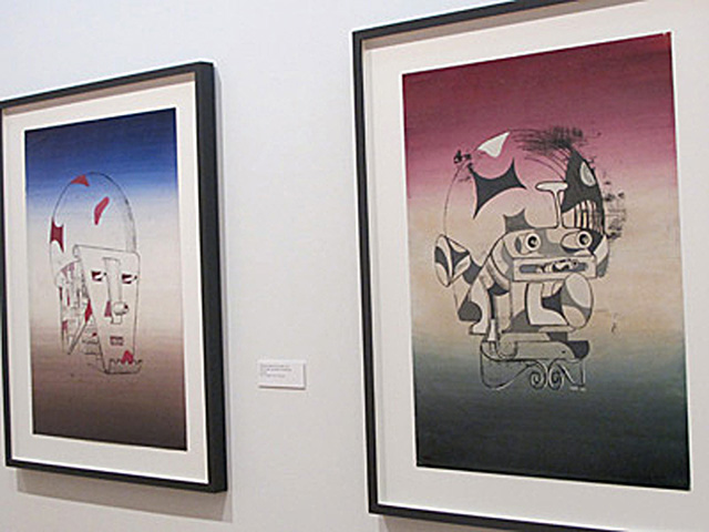 """A view of two works, """"The Home Guard (Faces of War)"""" (1942) and """"The General (Faces of War)"""" (1942), in The Drawing Center exhibition."""