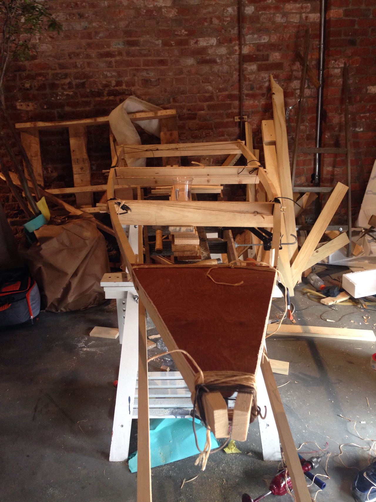 The frame of Bowthorpe's Red Hook boat