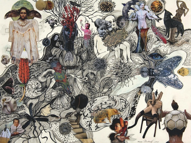 Norma Minkowitz, Hybrids, Pen and ink, collage on paper, 2008 [via gallerylapeche.com]