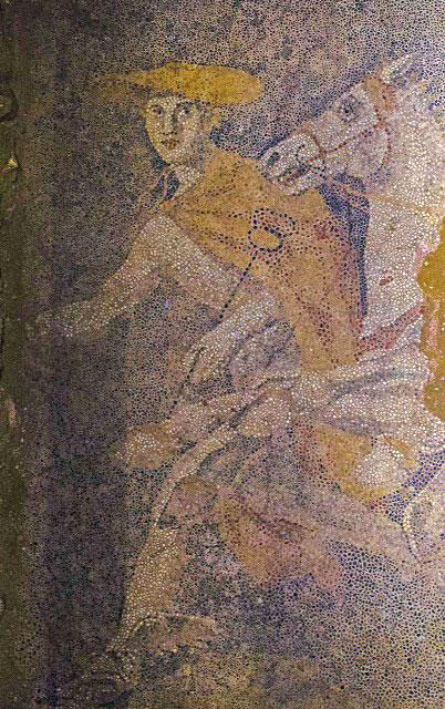 The figure of Hermes in the mosaic (click to enlarge)