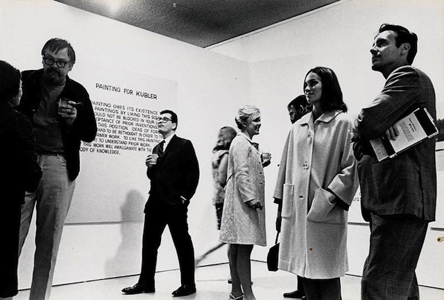 John Baldessari (left) at the opening of his exhibition at the Molly Barnes Gallery in Los Angeles, 1968 (probably on a Saturday). Photo by Phillip T. Jones. (via blogs.getty.edu)