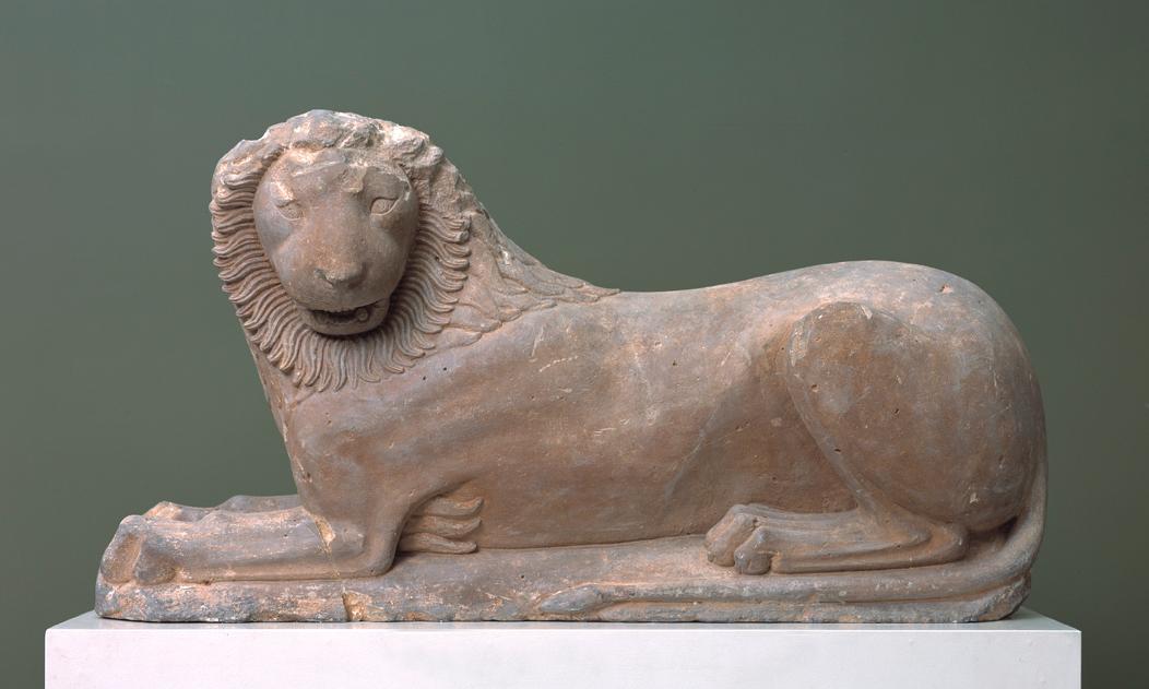 """Lion from Loutraki,"" Greece (c. 570-560 BCE), limestone, h: 53 cm, l: 100 cm, Ny Carlsberg Glyptotek"