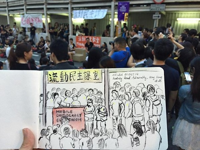 """A drawing by Helen Chan of a """"mobile democracy classroom"""" (Image via Facebook)"""