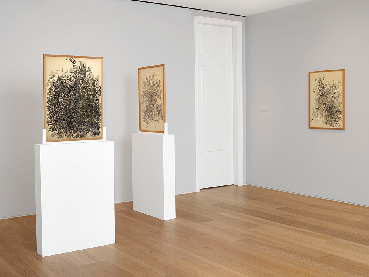 An installation view of some of Opalka's from 1959 and 1960, years before his lifelong project began. (photo courtesy Dominique Lévy Gallery)