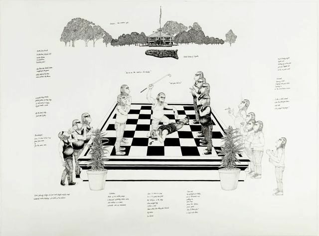"Ray Anthony Barrett, ""Porchmonkey Pawns For Manicured Lawns Jockey For Position Without Inquisition (Battle Chess), (from Porch Monkeys), 2014. All images courtesy of the artist and Diane Rosenstein Fine Arts."
