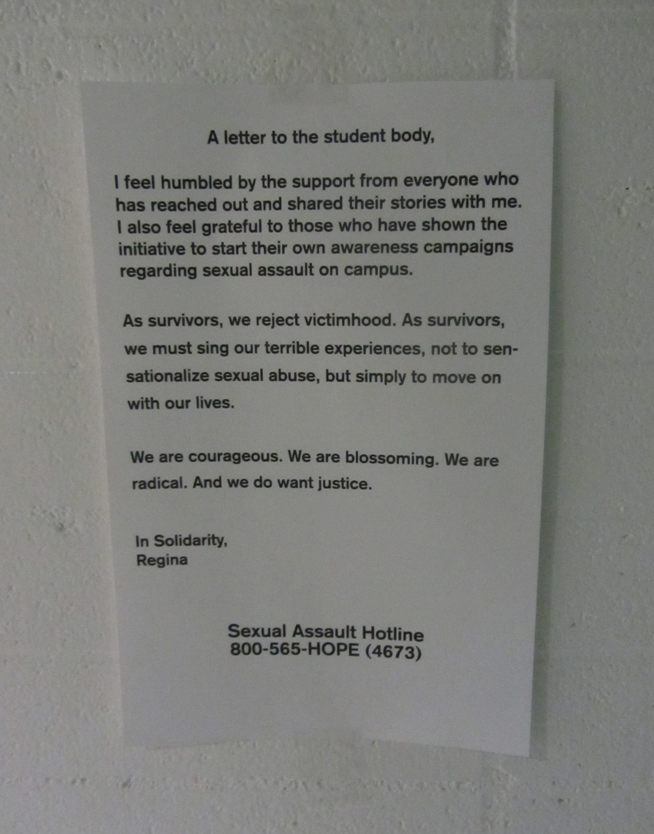 Letter posted by the Title IX complainant at CalArts (click to enlarge)