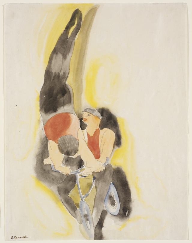 """Charles Demuth, """"Bicyclists,"""" ca. 1916-1917. © Charles Demuth. Gift of the Fazzano Brothers. (Courtesy of the RISD Museum, Providence, RI)"""