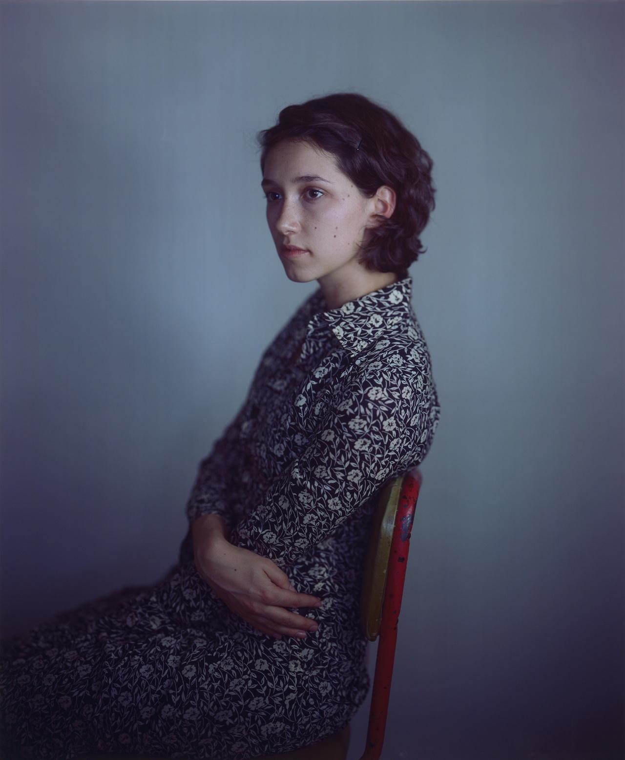 "Richard Learoyd, ""Nancy flowered dress"" (2011), camera obscura Ilfochrome photograph 58 x 48 in (image, sheet & mount), shown at Paris Photo (© Richard Learoyd, courtesy Fraenkel Gallery, San Francisco)"