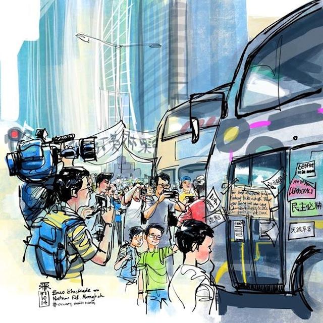 A drawing of the Hong Kong protests by Rob Sketcherman (image via Facebook)