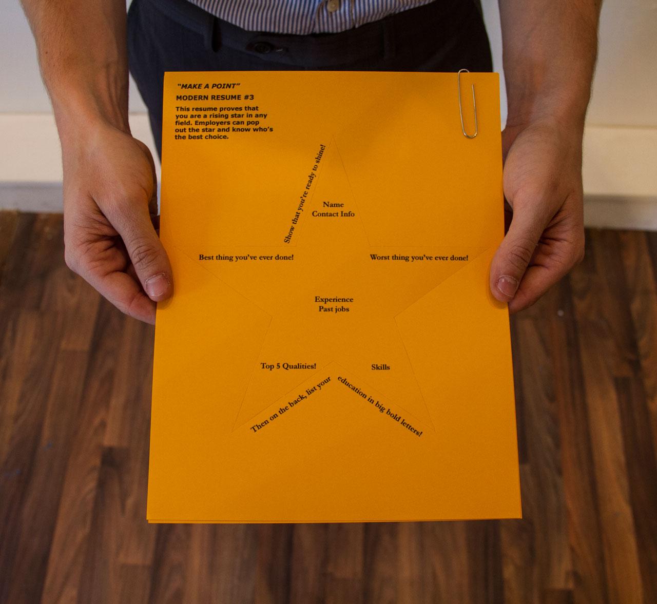 """Paul Shortt, """"Make a Point"""" (2014), modern resume #3 (image courtesy the artist)"""