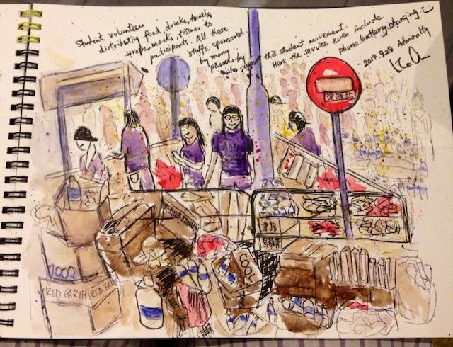 A drawing of student volunteers by Wink Au (Image via Facebook)
