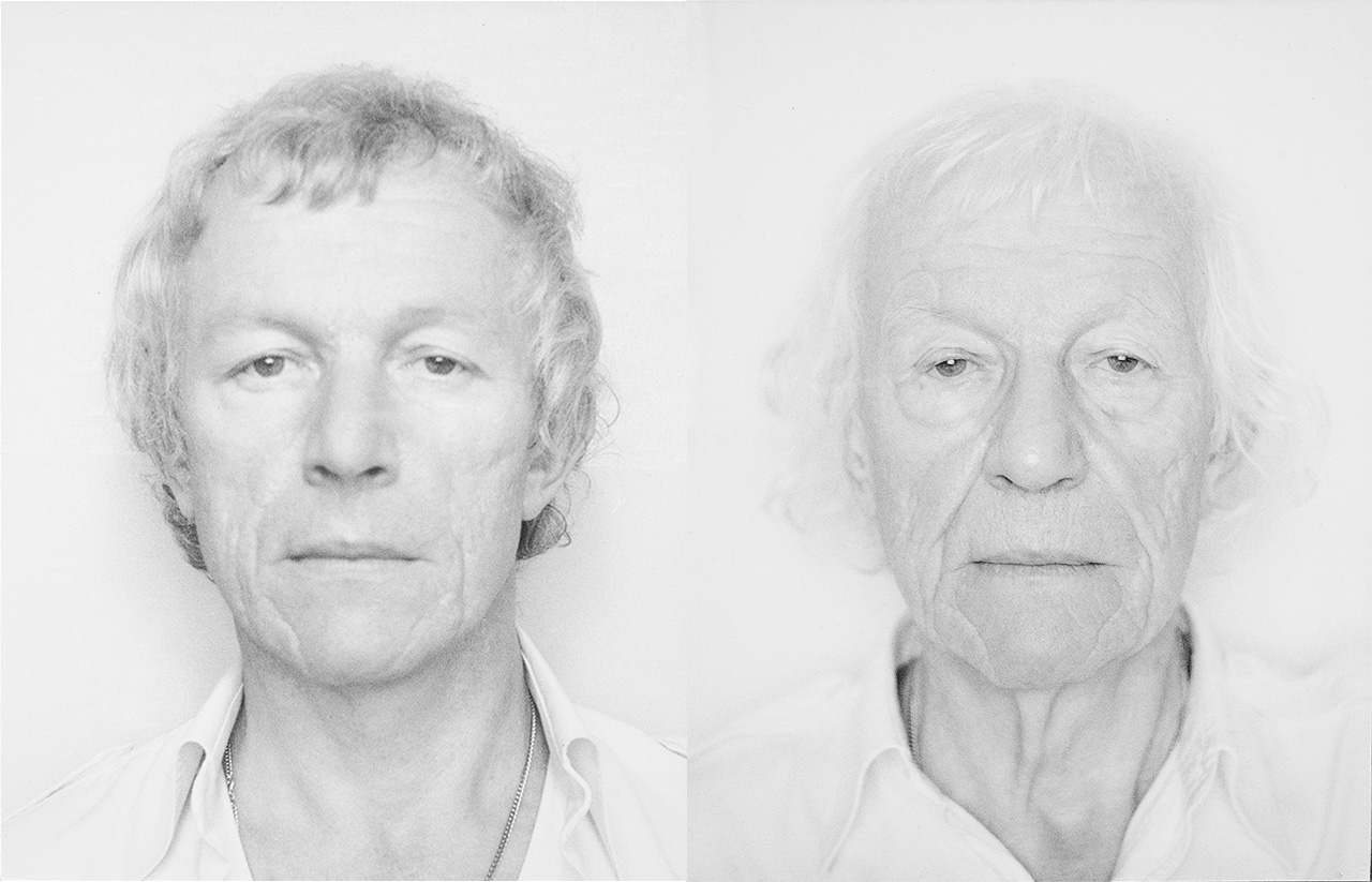 Some of Opalka's self-portraits, left, ROMAN OPALKA, OPALKA 1965/1 -∞, Détail -Photo 2787231, 9 7/16 x 12 inches (24 x 30.5 cm), and, right, ROMAN OPALKA, OPALKA 1965/1 -∞, Détail -Photo 5455634, 9 7/16 x 12 inches (24 x 30.5 cm) (both photos by Vincent Lespinasse, courtesy Dominique Lévy Gallery)
