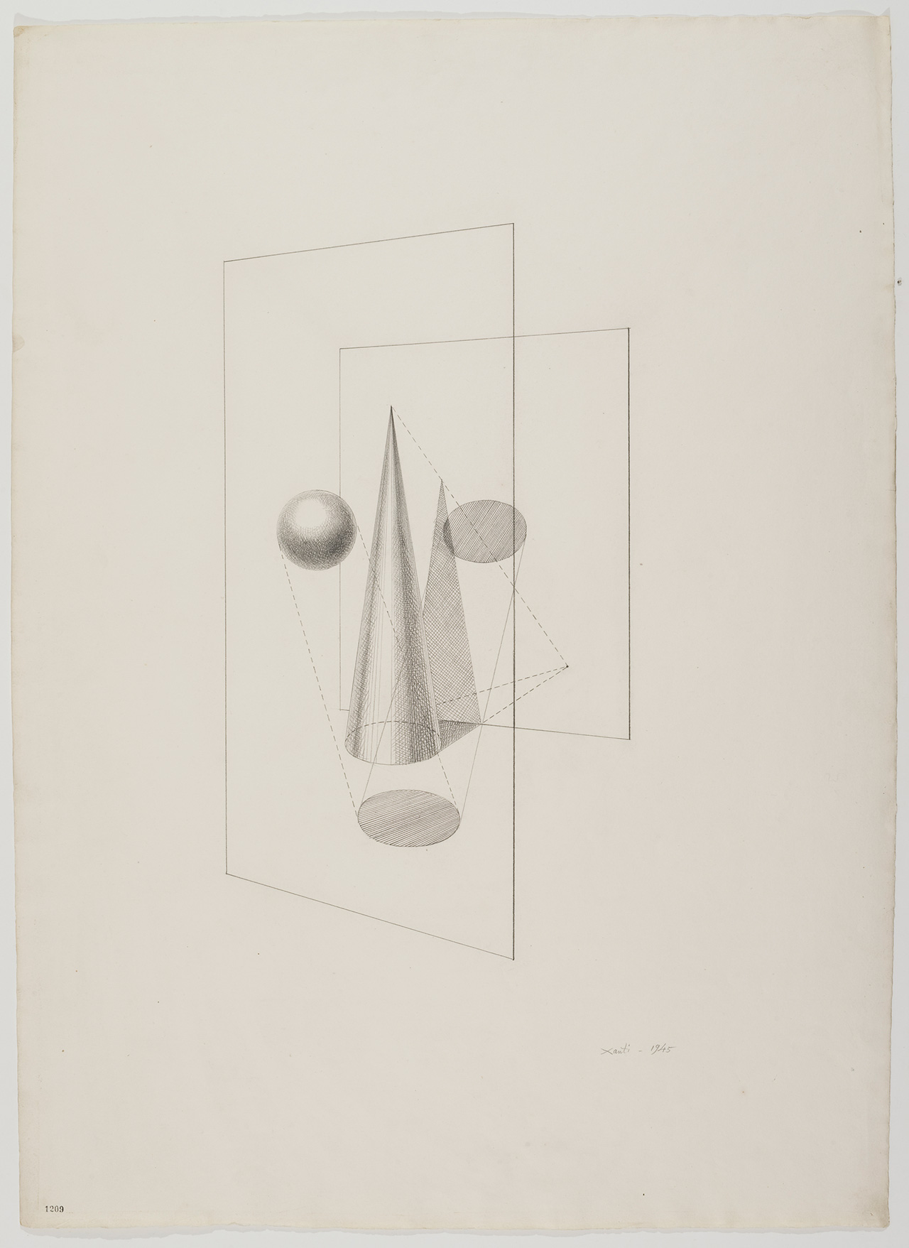 """Xanti Schawinsky, """"Euclidian"""" (1943), Head Drawings, graphite on paper, 31 1/2 x 23 inches (80 X 58.4 cm)"""