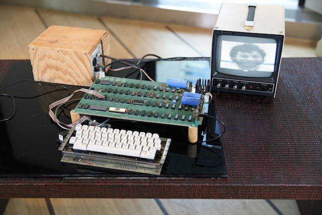 One of six known functioning Apple-1 computers sold at Bonhams for $905,000. The Apple-1 computers were designed and hand built by Steve Wozniak in 1976 (image courtesy of Bonhams)