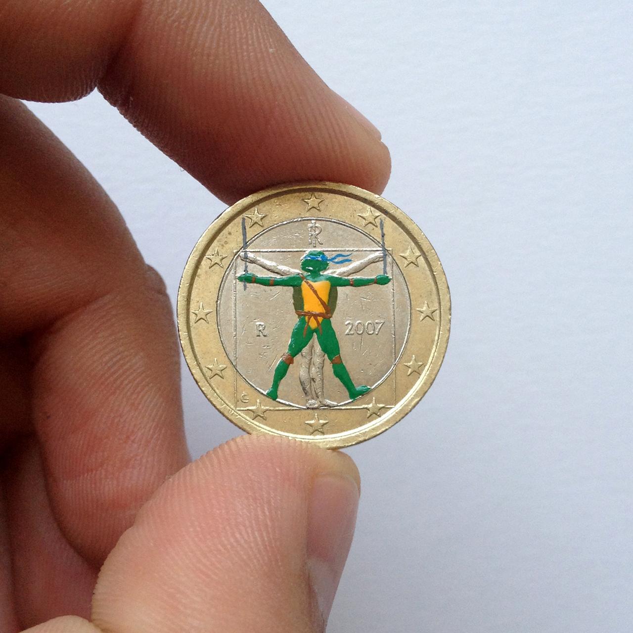 Andre Levy coin painting of the Teenage Mutant Ninja Turtle Leonardo