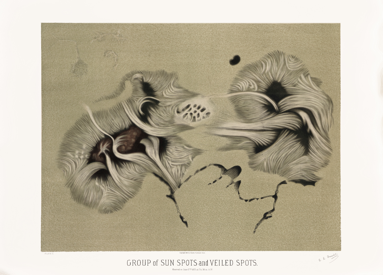 1881 print by Étienne Trouvelot of sunspots (Courtesy the U. of Michigan Library)