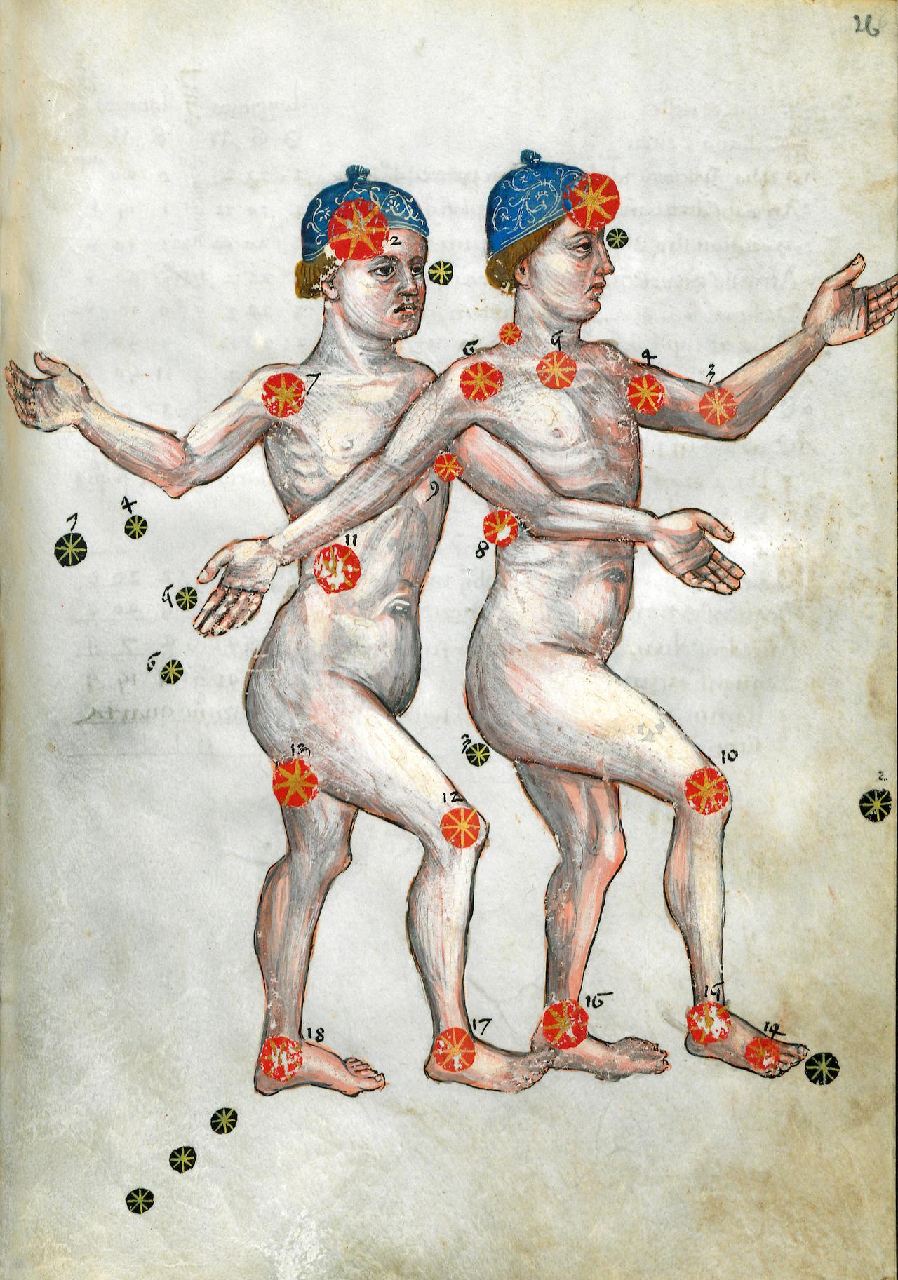 "1428 depictino of Gemini from an edition of Persian astronomer Abd al-Rahman al-Sufi's ""Book of Fixed Stars"" (Courtesy Forschungbibliothek Gotha)"