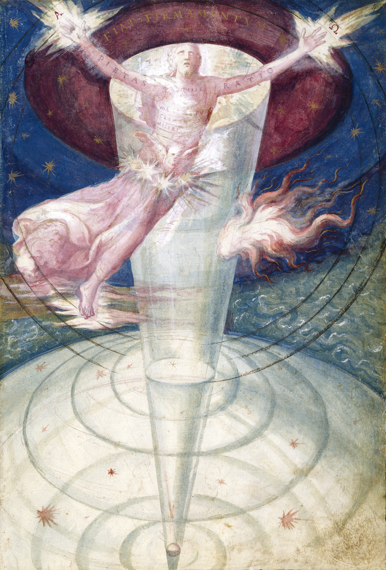 1573 illustration of the universe and the divine creator by Francisco de Holanda (courtesy Biblioteca Nationale Spain)