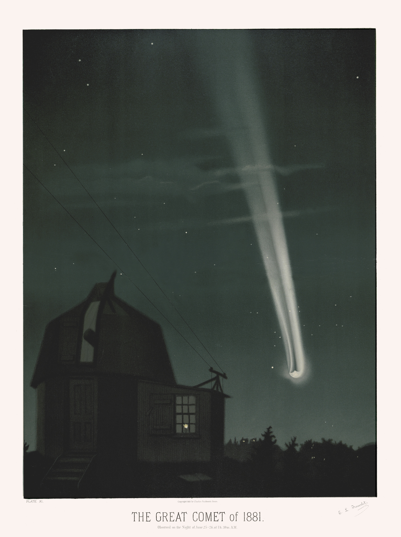 Print by Étienne Trouvelot of the Great Comet of 1881 (Courtesy the U. of Michigan Library)