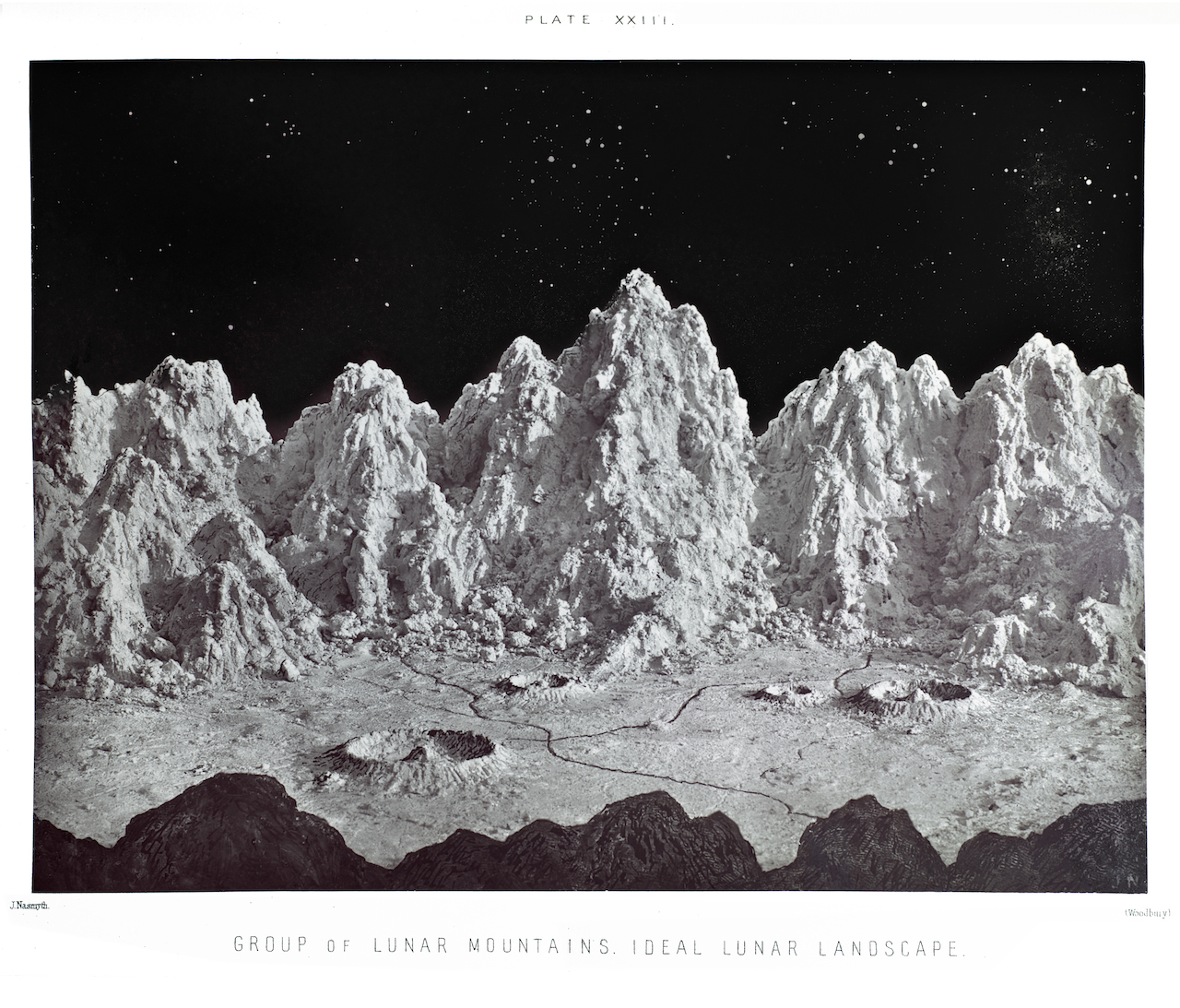 1874 depiction of lunar mountains, from a book by Nasmyth and Carpenter. (Courtesy the Wolbach Library, Harvard)