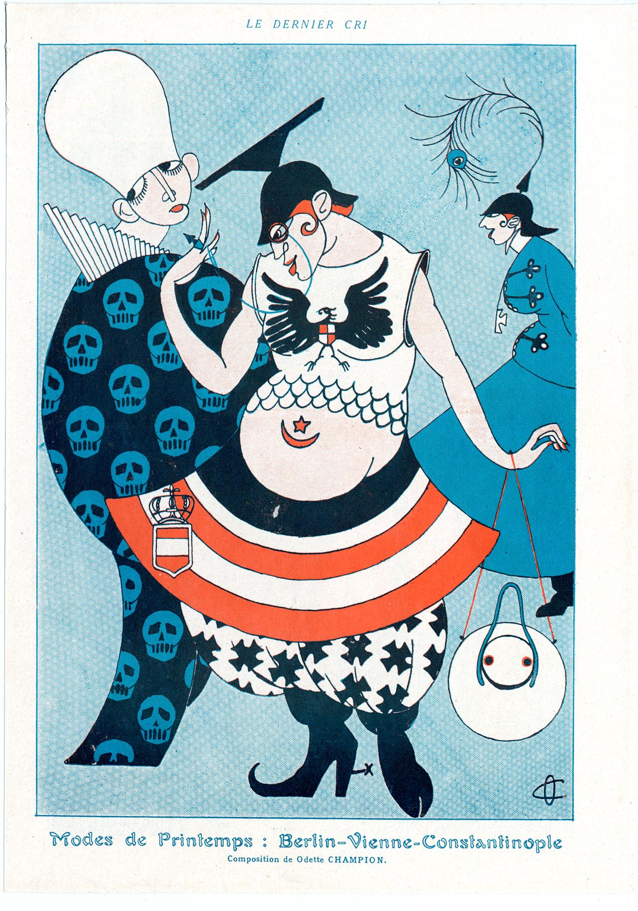 "Odette Champion, ""Modes de printemps: Berlin-Vienne-Constantinople."" Fantasio. Paris: Félix Juven, [1915]. Gift of Neil Harris and TeriJ. Edelstein, The University of Chicago Library."