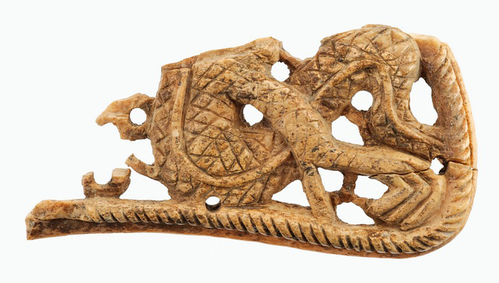 A fragment of a bone plate, discovered in the Christian quarter of Ukek