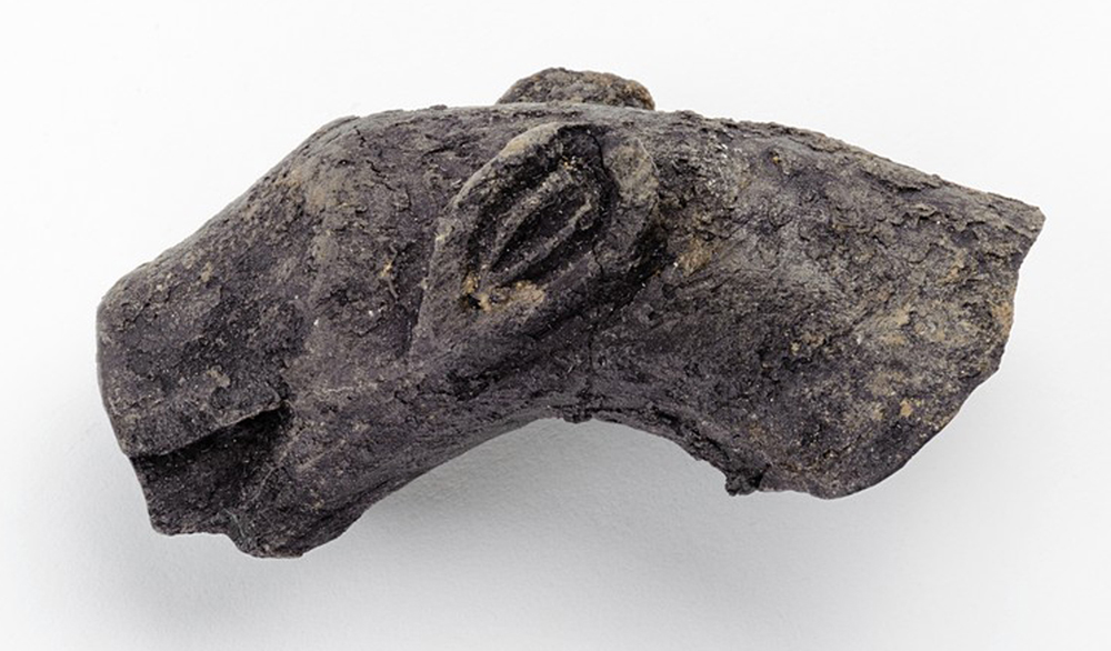 Part of a wooden handle shaped like a panther's head, found in a Christian temple in Ukek