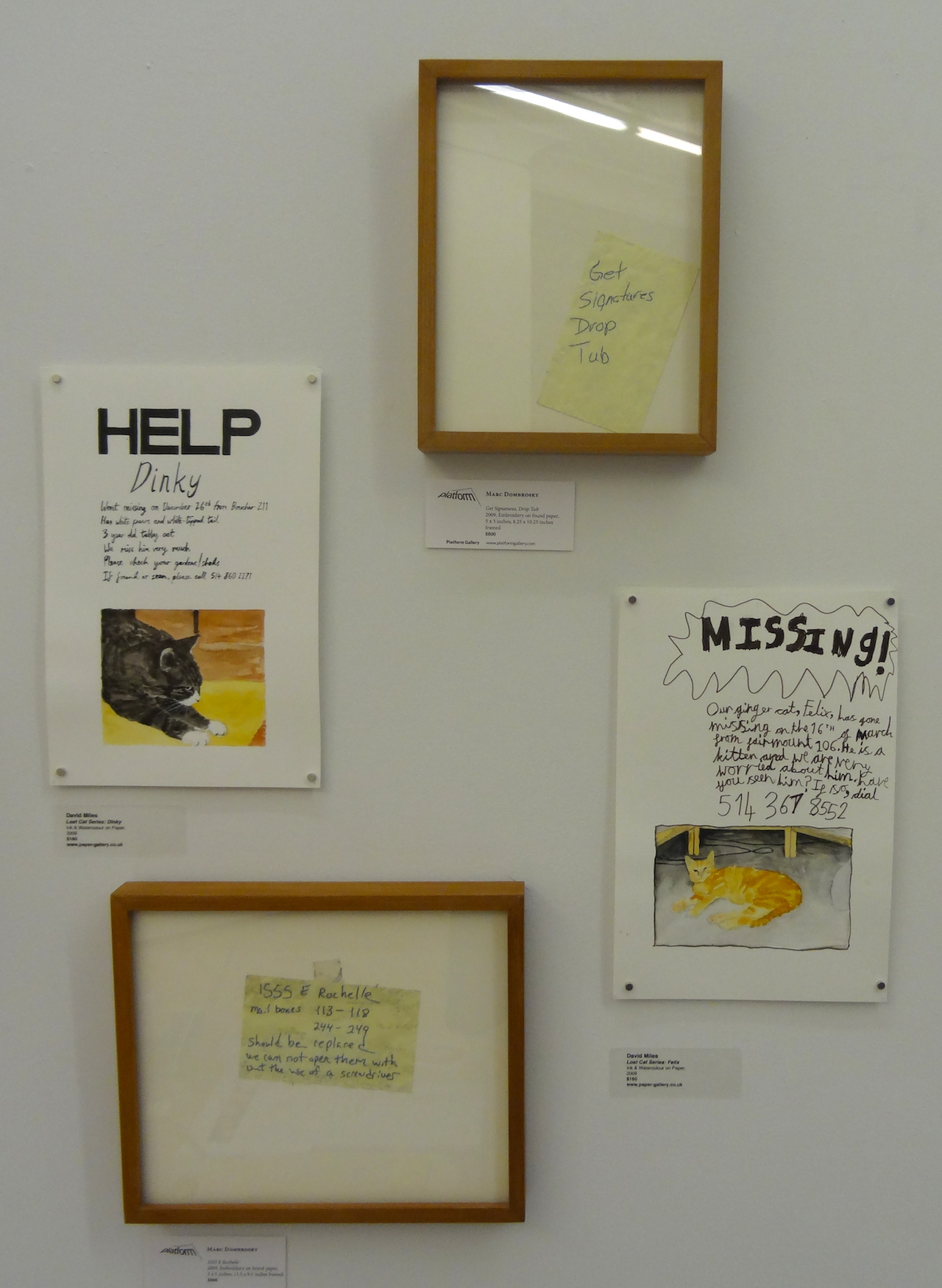 Embroidered notes by Marc Dombrosky, presented by Seattle's Platform Gallery, alongside paintings from David Milles's 'Lost Cat Series' presented by Manchester's Paper at Schema Projects