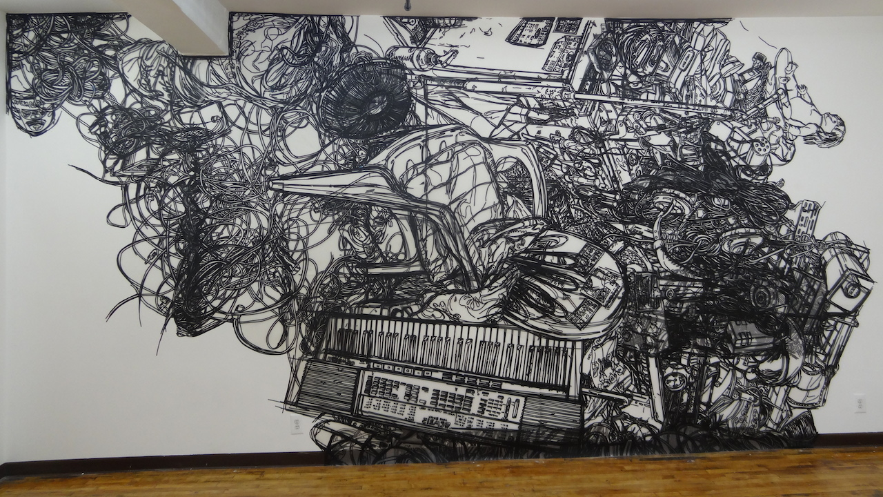 A tape mural by Heeseop Yoon, presented by Outlet, at The Active Space