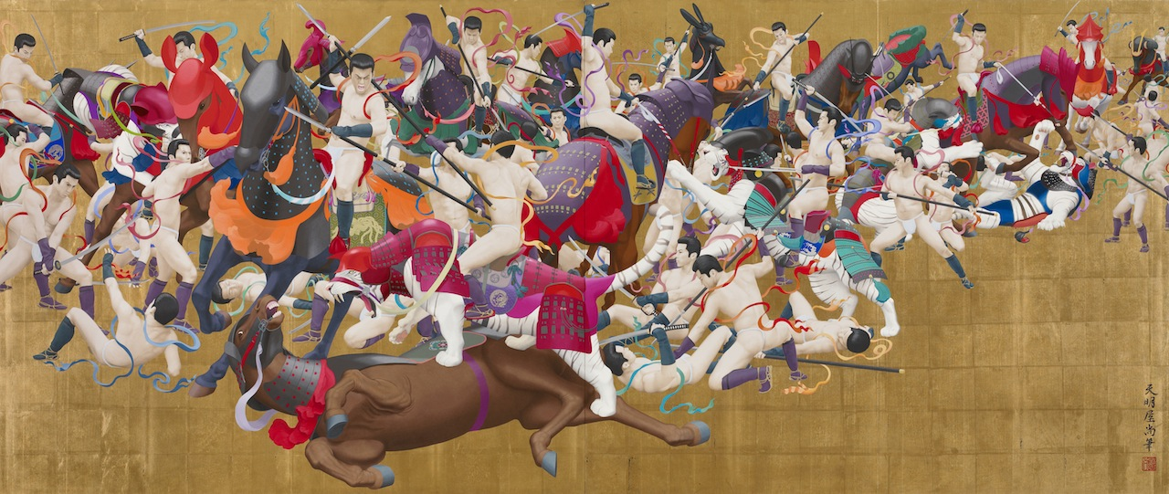 Hisashi Tenmyouya, (b. 1966), Rhyme, 2012. Acrylic paint, gold leaf on wood; inkjet print on paper, mounted on wood; each 49 7/8 x 118 1/8 in. Chazen Museum of Art, University of Wisconsin-Madison, Colonel Rex W. & Maxine Schuster Radsch Endowment Fund purchase, 2013.23.1-.2a-b. Fiberglass reinforced polyester, calcium carbonate; variable dimensions. Chazen Museum of Art, University of Wisconsin-Madison, John H. Van Vleck Endowment Fund purchase, 2013.23.3a-g.