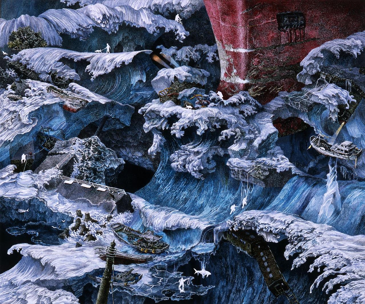 Manabu Ikeda, (b. 1973), Ice Stream (Episode from Foretoken), 2009. Pen, acrylic ink on paper, mounted on board; 13 4/5 x 17 5/7 in. Private Collection, New York. © Manabu Ikeda, courtesy Mizuma Art Gallery. Photo by Kei Miyajima.