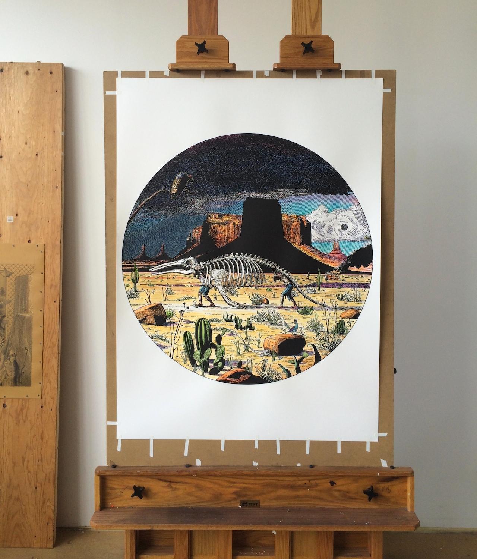 A new print in the studio of Brian Adam Douglas at 183 Lorraine Street