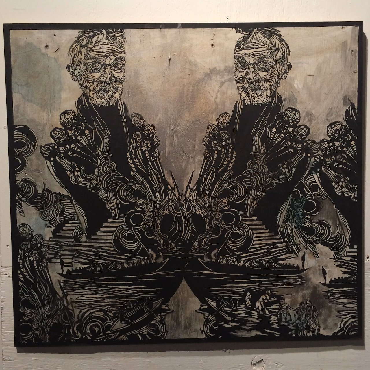 Work by Swoon in a pop-up exhibition at 610 Smith Street