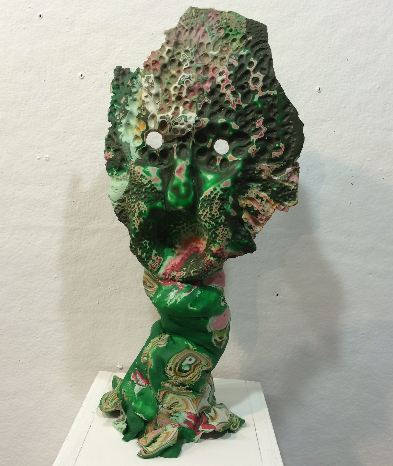 A sculpture by Daniel Wiener in a pop-up exhibition at Abby Goldstein's studio at 110 Nevins Street
