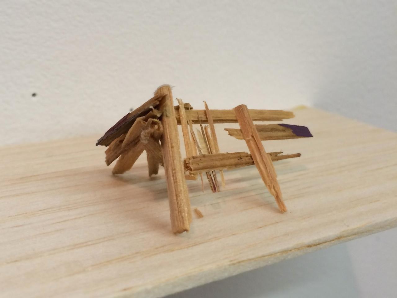 A sculpture made from wood splinters from Liz Sweibel's pop-up studio at 295 Douglass Street
