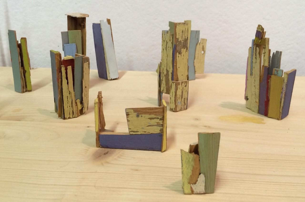 Sculptures made from wood shards from Liz Sweibel's pop-up studio at 295 Douglass Street